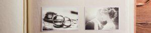 Ausschnitt aus einem Fotoalbum mit Trauringen und Hochzeitspaar zur Bebilderung der Rubrik Paargeschichten auf dem Blog der Berliner Paartherapeutin Julia Bellabarba