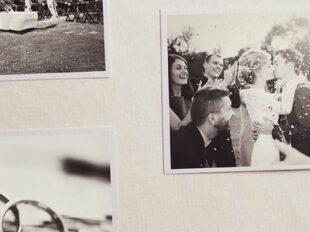 Ausschnitt aus einem Fotoalbum mit glücklichem Hochzeitspaar zur Bebilderung der Rubrik Paargeschichten auf dem Blog der Berliner Paartherapeutin Julia Bellabarba