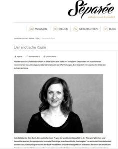 Screenshot des Interviews von Julia Bellabarba mit Angelika Eck auf den Webseiten des Blogs Separée