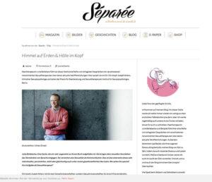 Screenshot des Interviews von Julia Bellabarba mit Christoph Ahlers auf den Webseiten des Blogs Separée
